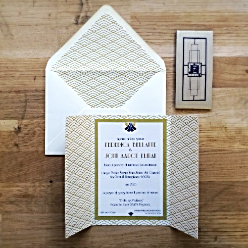 Gold art deco wedding invitations Art deco gold & navy