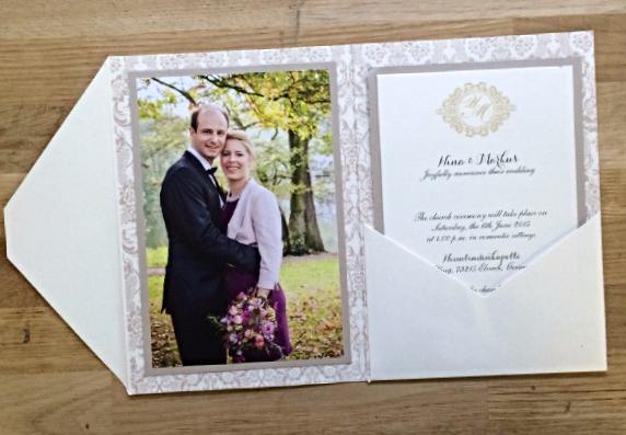 Photo pocket wedding invitations