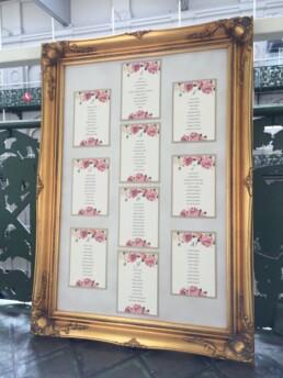 Framed wedding table plans