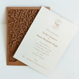 "Laser cut love tree wedding invitations ""Heart tree"""