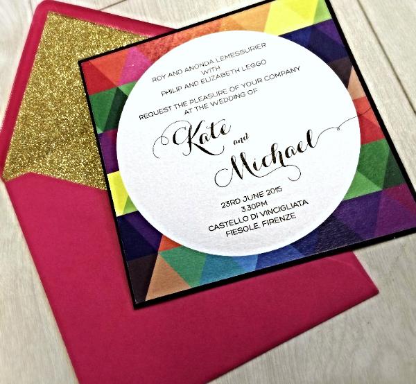 Pop wedding invitations Pop glitter