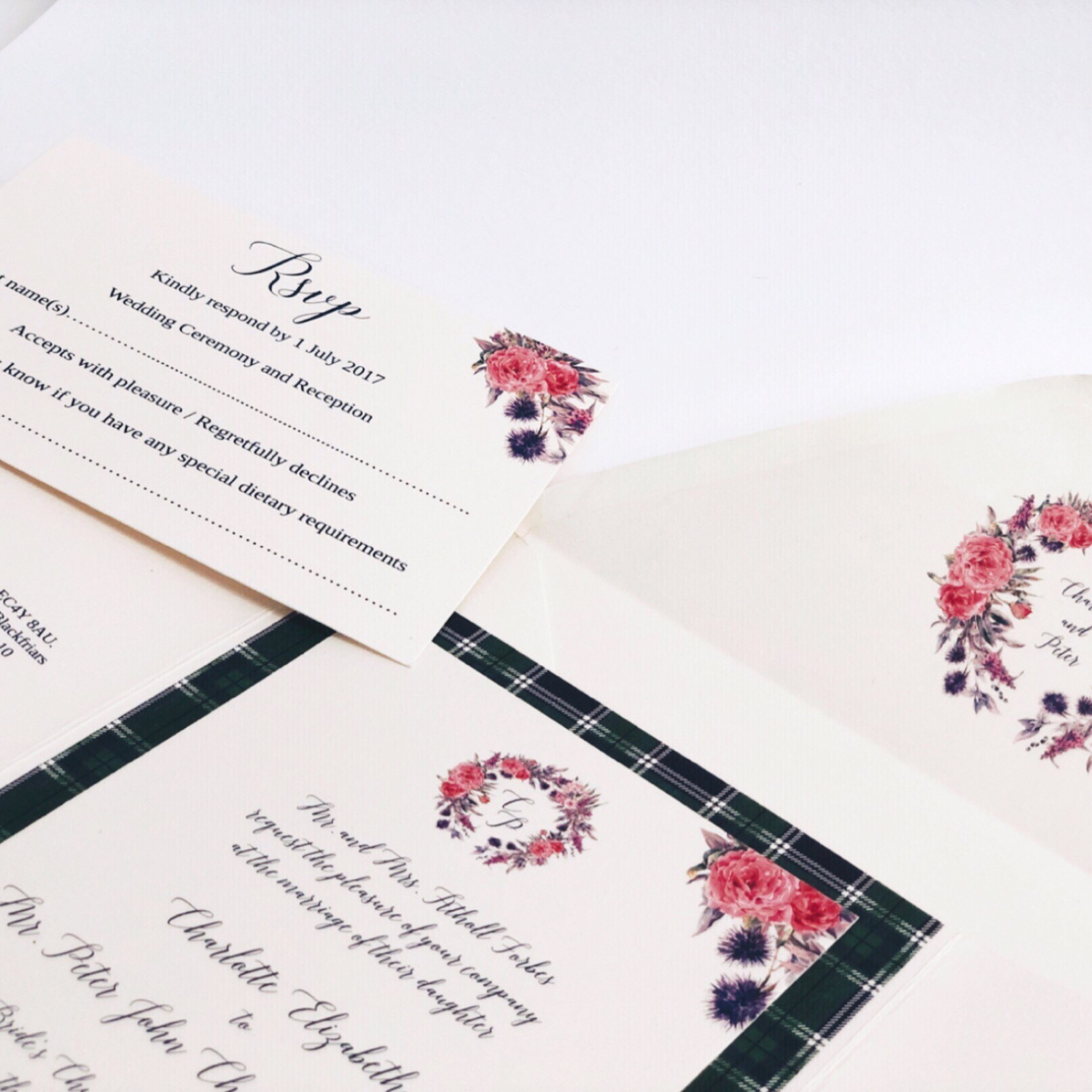 Flower Garden and Tartan Wedding Invitation