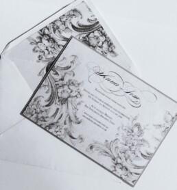 Silver Acanthus Leaf Wedding Invitation