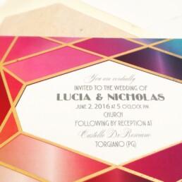Coloured Diamond Wedding Invitation