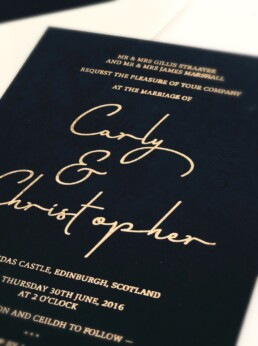 Gold and Blue Elegance Wedding Invitation