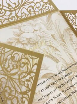 Laser cut Gold baroque Wedding Invitation