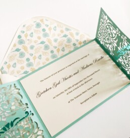 Oporto Blue Laser Cut Wedding Invitation
