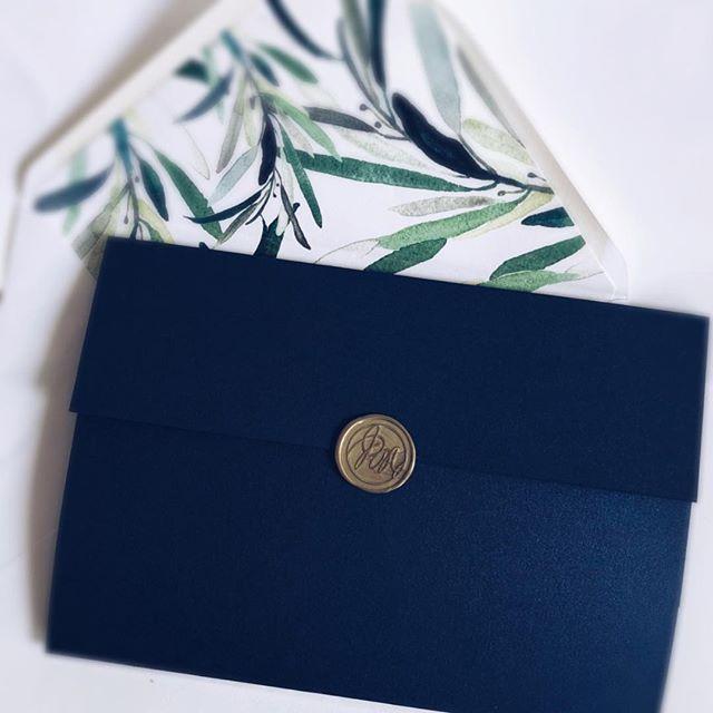 Watercolour Leaves Pocket invitation
